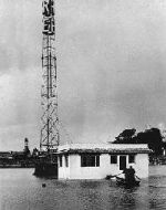 KRE transmitter building, flood
